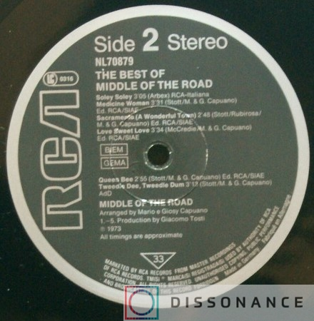 Виниловая пластинка Middle Of The Road - Best Of Middle Of The Road (1973) - фото 2